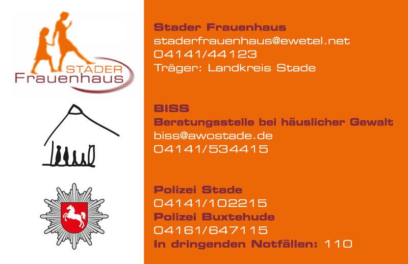 Visitenkarte Stader Frauenhaus, Rückseite